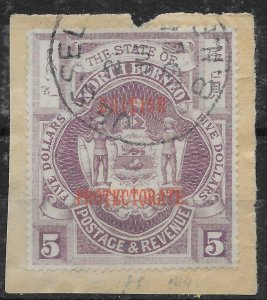 NORTH BORNEO SG144 1905 $5 DULL PURPLE USED ON PIECE, DUBIOUS CANCEL