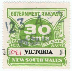 (I.B) Australia - NSW Government Railways : Parcels Stamp 30c (Victoria)