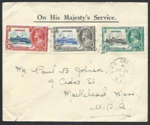 GRENADA 1935 Jubilees on cover to USA......................................53143