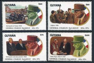 Guyana 2508-2511,MNH.Mi 3732-3735.Charles de Gaulle,1991.Khrushchev,Pope John VI