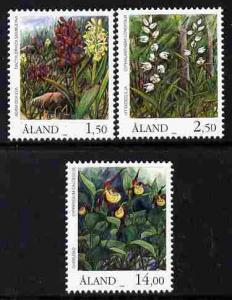 Aland Islands 1989 Orchids perf set of 3 unmounted mint S...