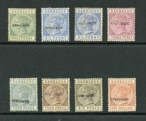 Barbados 1882 Selection of 8 each opt Specimen (BAR2 with stop) Scarce selection