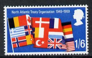 Great Britain 1969 Anniversaries 1s6d (Flags) single with...