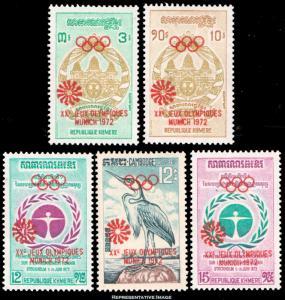 Cambodia Scott 301-305 Mint never hinged.
