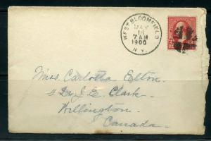 US W. BLOOMFIELD 5/16/1900 2-CENT COVER TO WELLINGTON, CANADA 5/17/1900 AS SHOWN