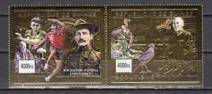 Guinea. Scout Baden Powell, Birds & Table Tennis, Gold Foils issue.