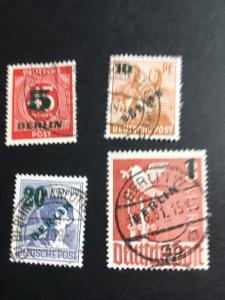 Germany Berlin #9N64-67 2020 Sc. Cat. $29.20 1949 Surcharges Cpl. Set F+-VF Used