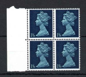 1/6 GUM ARABIC MACHIN UNMOUNTED MINT BLOCK OF 4 WITH PHOSPHOR OMITTED Cat £60