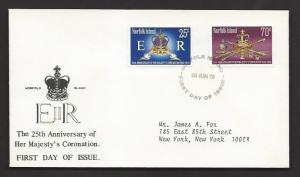 NORFOLK ISLAND 1978 QE2 CORONATION 25th Anniversary Set Sc 229-230 on Cachet FDC