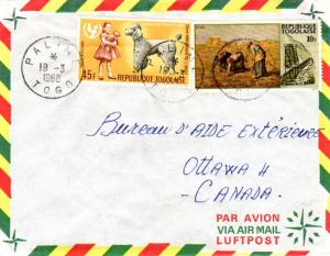 Togo 45F UNICEF and 10F Industrialization of Togo 1968 Palime, Togo Airmail t...