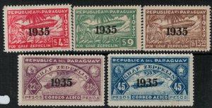 Paraguay 1935 SC C93-C97 Mint SCV $48.00 Set