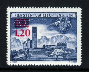 LIECHTENSTEIN 1952 1fr20 Surcharge in RED on 40r. Blue SG 308 MINT