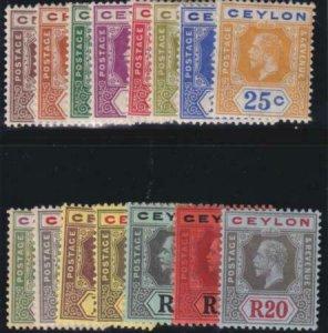 Ceylon 1912-1925 SC 200-214 MLH Set