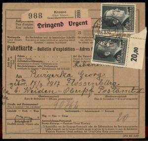 Germany GGov Poland Concentration Camp KL Floessenbuerg Package Card 79473