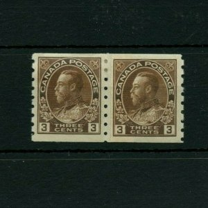 #130 - 2x3 cent Admiral coil DRY PASTE-UP PAIR VF 1xMH Cat$250 Canada mint
