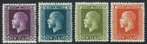 NEW ZEALAND 1915 KGV 2D 21/2D 0D AND 1/- PERF 14 X13.5