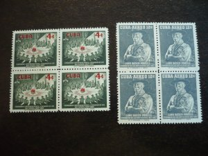 Stamps - Cuba - Scott# 565,C152 - Mint Hinged Set of 2 Stamps in Blocks of 4