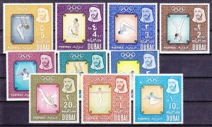 Dubai, Scott cat. 43-52. Tokyo Olympics issue. ^