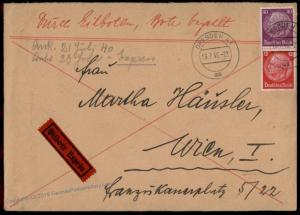 Germany 1940 Dresden Vienna TR Franked Rohrpost Pneumatic Express Cover 71551