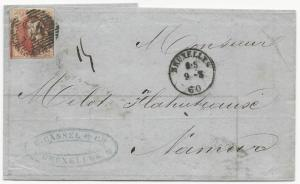 Belgium Scott #8b on Cover Bruxelles March 9, 1860 G. Cassel & Co