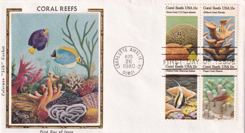 1980, Coral Reefs,  Block/4, Colorano Silk FDC (E11858)