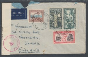 New Zealand Sc 229/241 on 1940 Censored Air Mail Cover, Lyttelton-Oxford England