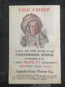 1923 Blue Field Va USA Indian Chief Advertising Postcard Cover Appalachian Power