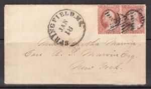 USA #25a Used Pair On Cover With Trivial Corner Flaws **Certificate**