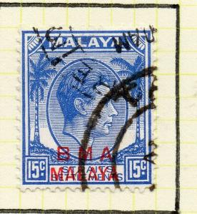 Malaya Straights Settlements 1945 Early Shade of Used 15c. BMA Optd 307999