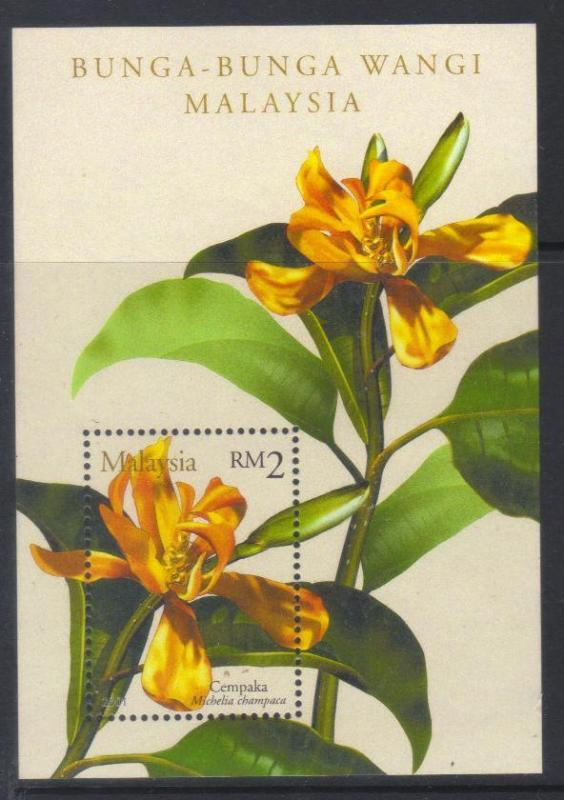 MALAYSIA 2001 SCENTED FLOWERS MNH MS
