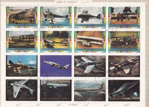 Umm Al Qiwain  M# 1274A-1289A, Old & Modern Airplanes Sheet of 16, CTO