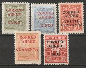 Paraguay 1930 Sc C29-33 air post partial set MLH*