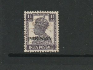 Pakistan, 1947 1 1/2As Dull Violet, WMK INVERTED, Used SG 5w