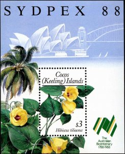 Cocos Islands #199, Complete Set, Souvenir Sheet, 1988, Flowers, Stamp Show, ...