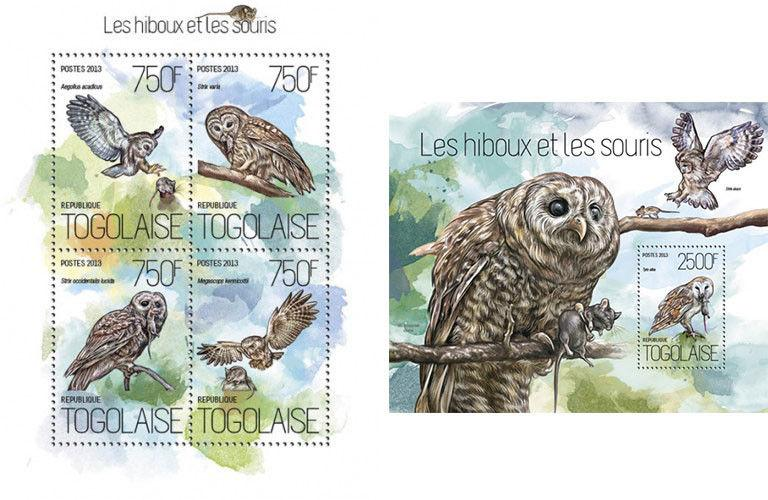 Owls Eulen Birds Vögel Mice Animals Fauna Togo MNH stamp set