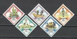 Ghana, Scott cat. 460-464. 60th Anniversary of Scout Movement. Light Hinged.
