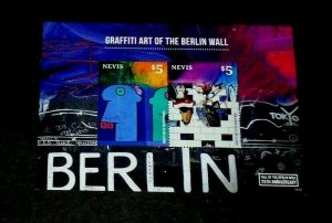 TOPICAL, ART, NEVIS, 2014, GRAFFITI BERLIN WALL SHEET, MNH, LOT #33, LQQK