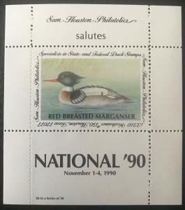 Sam Houston Philatelics salutes National '90 November 1-4, 1990 MNH