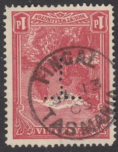 TASMANIA 1915 1d pictorial with official T perfin - FINGAL cds..............Q987