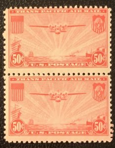 C22 Pair of two 50c stamps.  Mint NH.