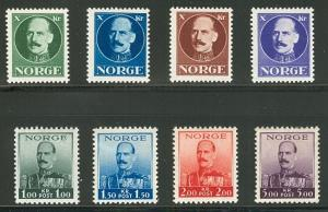 NORWAY #177-80, King Haakon ESSAYS in 4 diff colors NH