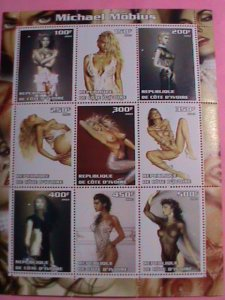 IVORY COAST STAMP-2003-FAMOUS MODEL-MICHAEL MOBIUS-MNH STAMP SHEET -RARE