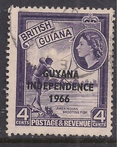 Guyana 1966 - 67 QE2 4ct Shooting Fish Idependence 1966 Ovpt Used SG 387 ( E9...