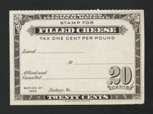 United States Revenue Stamp 1952 Filled Cheese