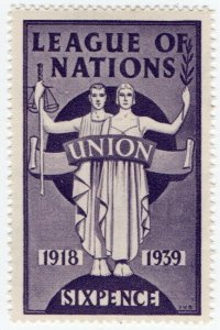 (I.B) Cinderella Collection : League of Nations Union 6d