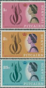 Pitcairn Islands 1968 SG85-87 Human Rights set MNH