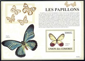 Comoro Islands MNH S/S 1092 Butterflies Insects 2009 SCV 15.50