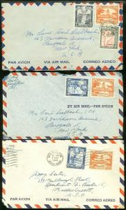 EDW1949SELL : BRITISH GUIANA 3 Nice Air Mail covers to USA.