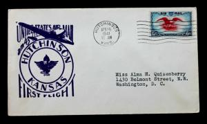 US Stamp Sc# C23 HUTCHINSON KANSAS FIRST FLIGHT AIR MAIL COVER AM 43 1941