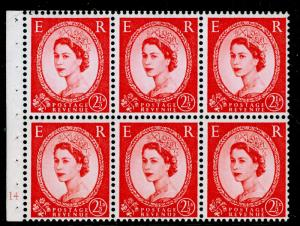 SG574, 2½d carmine-red,NH MINT.Cat £150.BOOKLET PANE CYL J14 NO DOT.WHITE PAPER.